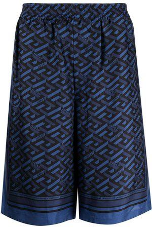VERSACE Men Bermudas - Greca-print silk shorts