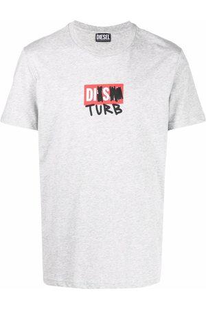 Diesel Men T-shirts - Disturb logo print T-shirt - Grey
