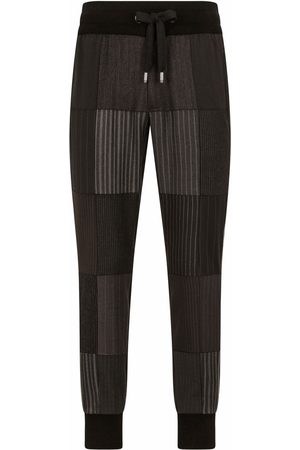Dolce & Gabbana Men Straight Leg Pants - Patchwork-detail drawstring trousers - Grey