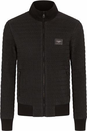 Dolce & Gabbana Men Bomber Jackets - Textured logo-plaque jacket