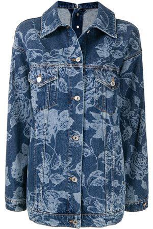 Msgm Women Denim Jackets - Floral-print rear-button detail denim jacket