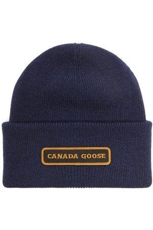 Canada Goose Logo-embroidered Merino Wool Beanie Hat - Mens - Navy