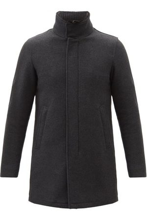 HERNO Men Coats - Melton-wool Overcoat - Mens - Dark Grey