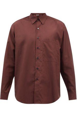 Auralee Men Shirts - Chest-pocket Cotton-poplin Shirt - Mens - Burgundy