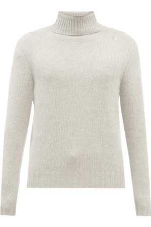 Allude Roll-neck Cashmere Sweater - Mens - Light Grey