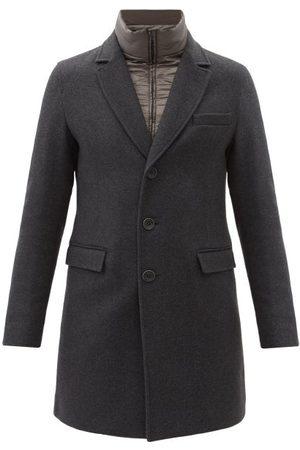 HERNO Men Coats - Diagonal Brushed Wool-blend Twill Coat - Mens - Dark Grey