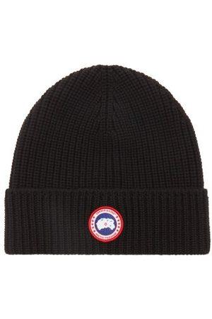 Canada Goose Patch-logo Rib-knit Merino Wool Beanie Hat - Mens