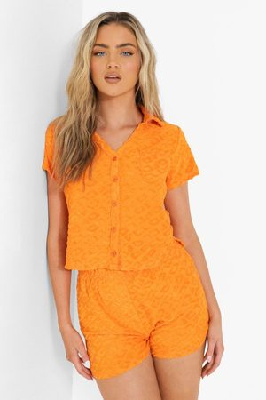 Boohoo Womens Ofcl Embossed Towelling Crop Shirt - - 2