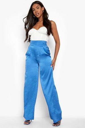 Boohoo Women Wide Leg Pants - Womens Satin Deep Waist Wide Leg Trouser - - 2