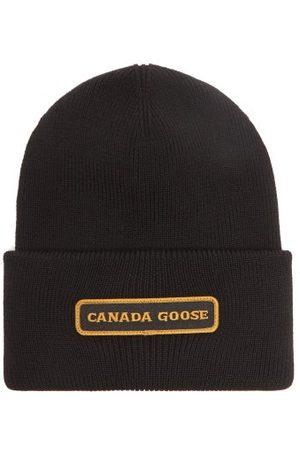 Canada Goose Men Beanies - Logo-embroidered Merino Wool Beanie Hat - Mens