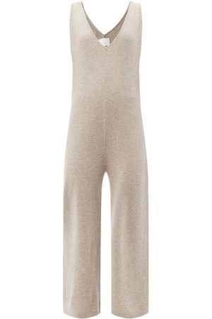 Allude V-neck Wool-blend Jumpsuit - Womens