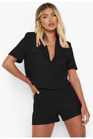 Boohoo Women Culottes - Womens Textured Button Detail Tailored Shorts - - S