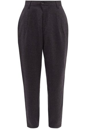 OLIVER SPENCER Kendrick Check Wool-twill Suit Trousers - Mens - Grey Multi