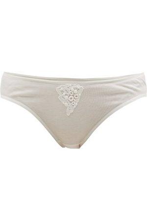 Hanro Women Briefs - Cora Floral-embroidered Cotton-jersey Mini Briefs - Womens