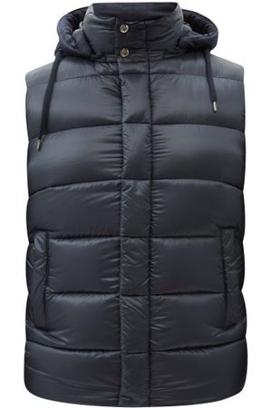HERNO Men Gilets - Hooded Quilted Down Gilet - Mens - Navy