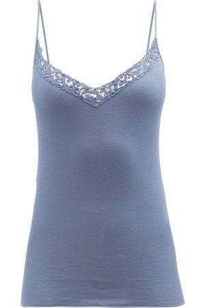 Hanro Women Camisoles - Cora Lace-embroidered V-neck Cotton Cami Top - Womens
