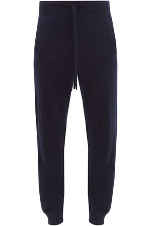 Allude Drawstring-waist Wool-cashmere Blend Track Pants - Mens - Navy