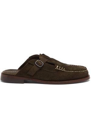 Hereu Barraca Backless Leather Loafers - Mens - Olive