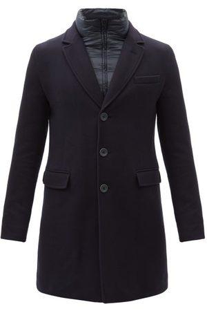 HERNO Men Coats - Diagonal Brushed Wool-blend Twill Coat - Mens - Dark
