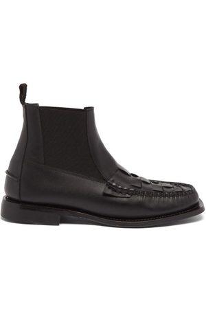 Hereu Men Chelsea Boots - Fuensa Woven-panel Leather Chelsea Boots - Mens