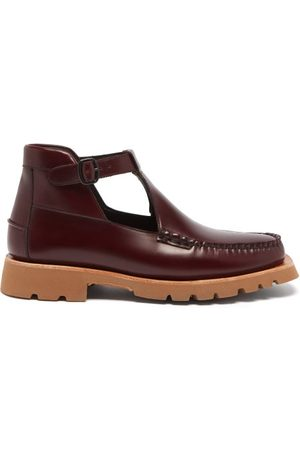 Hereu Men Lace-up Boots - Aileo Sport T-bar Leather Chukka Boots - Mens - Burgundy