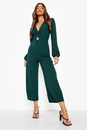 Boohoo Womens Puff Sleeve Twist Detail Culotte Jumpsuit - - 4