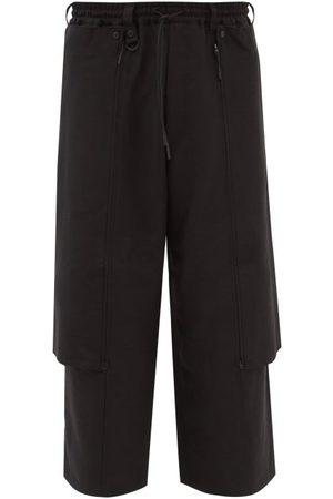 Y Men Wide Leg Pants - 3 - Cropped Cotton-canvas Wide-leg Trousers - Mens