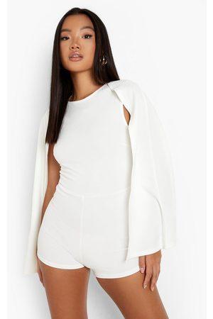 Boohoo Women T-shirts - Womens Petite Cape Sleeve Romper - - 2