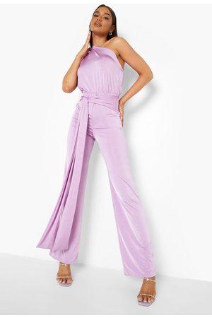 Boohoo Womens Recycled Slinky Asymetric Wide Leg Jumpsuit - - 4