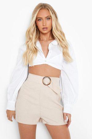 Boohoo Womens Corduroy Belted Shorts - - 4