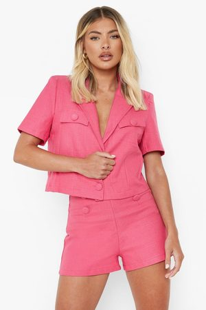 Boohoo Womens Textured Button Detail Tailored Shorts - - S