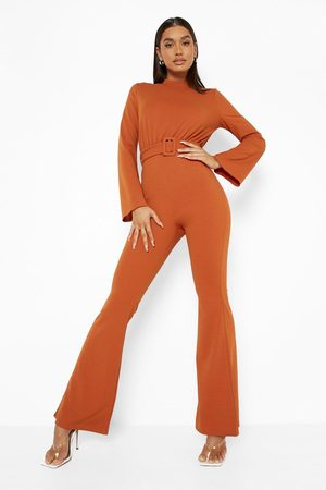 Boohoo Womens Flared Sleeve Belted Tailored Jumpsuit - - 4
