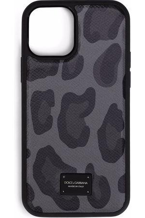 Dolce & Gabbana Men Phones Cases - Leopard-print iPhone 12 case - Grey