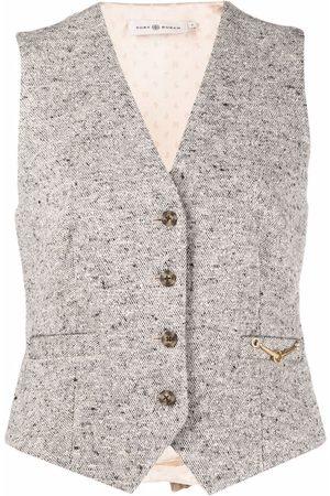 Tory Burch Tweed horse-bit waistcoat - Grey