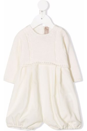 LA STUPENDERIA Baby Rompers - Knitted-panel contrast romper - Neutrals