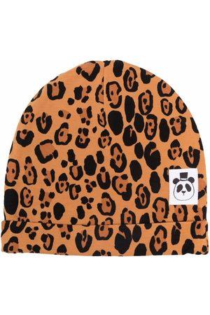 Mini Rodini Girls Beanies - Leopard-print logo-patch beanie