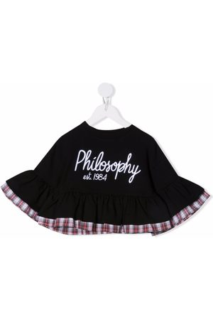 PHILOSOPHY DI LORENZO SERAFINI Girls Tops - Logo-embroidered ruffle-hem top