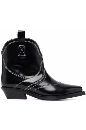 Ganni Women Ankle Boots - Western-style stitched ankle boots