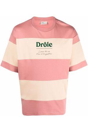 Drôle De Monsieur Men T-shirts - Logo-print striped T-shirt