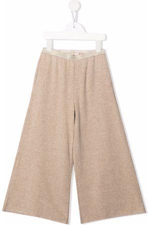 Zhoe & Tobiah Girls Wide Leg Pants - High-waisted wide leg trousers - Neutrals