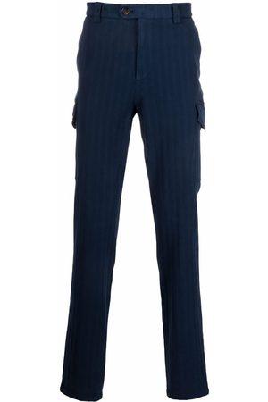 Brunello Cucinelli Men Skinny Pants - Vertical-stripe slim-cut trousers