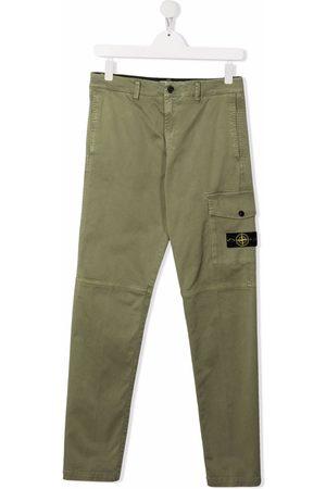 Stone Island Cargo Pants - TEEN logo-patch cargo trousers