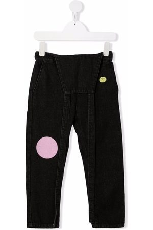 Bobo Choses Girls Jeans - Embroidered-circles dungaree jeans