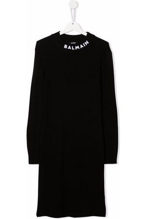 Balmain Girls Knitted Dresses - TEEN ribbed-knit virgin wool dress