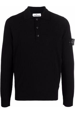 Stone Island Men Polo Shirts - Compass long-sleeve knit polo shirt