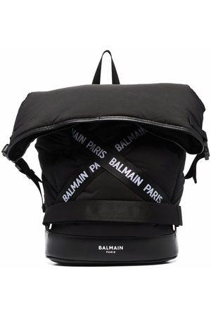 Balmain Rucksacks - TEEN logo-tape padded backpack
