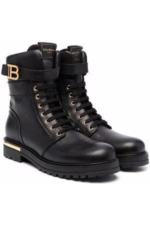 Balmain Ankle Boots - Teen logo buckle combat boots