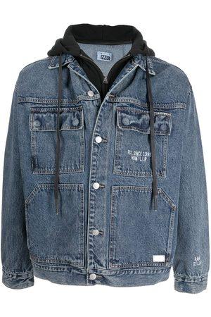Izzue Men Denim Jackets - Hooded denim jacket