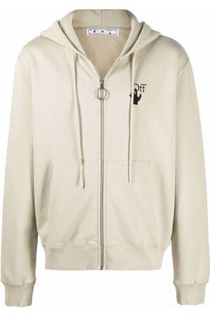OFF-WHITE Hoodies - Bubble Arrow-logo slim zip-front hoodie - Neutrals