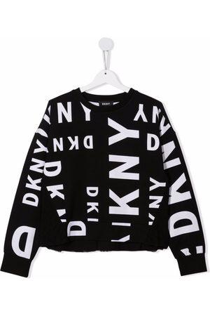 DKNY TEEN logo print tulle-insert sweatshirt